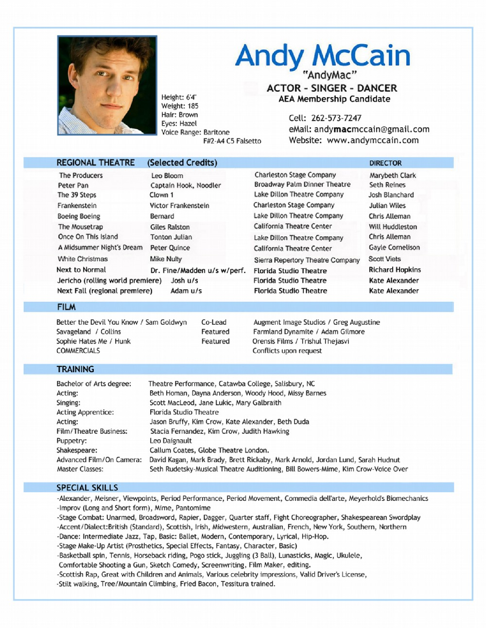page one for abridged resume print both pages for complete two page